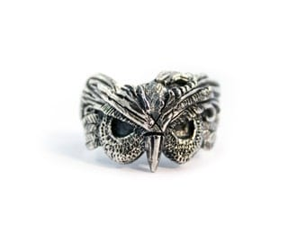 Owl ring, Owl jewelry, Occult jewelry, Occult ring, Animal ring, Gothic jewelry, Oxidized silver ring, Harley Davidson, Biker ring