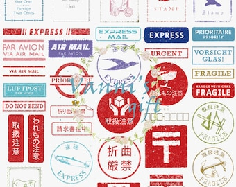 57 Vintage Postal Stamp Digital Download Scrapbooking Clip Art c13