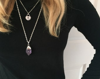 Amethyst Raw Crystal Drop Silver Pendant Necklace/Purple/ Crystal/Sterling Silver