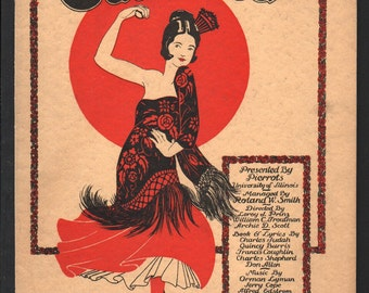 "Music score for ""Carlotta"" presented by University of Illinois, Pierrots, art by K G Shopen, various authors, 1924 - PD000112"