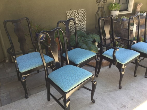 SOLD 6 Queen Anne Dining Chairs In Black Turquoise