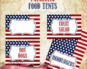 8 Custom Patriotic Food Cards, 4th of July Food Tent, Printable Patriotic Tent Cards, Party Labels, INSTANT DOWNLOAD