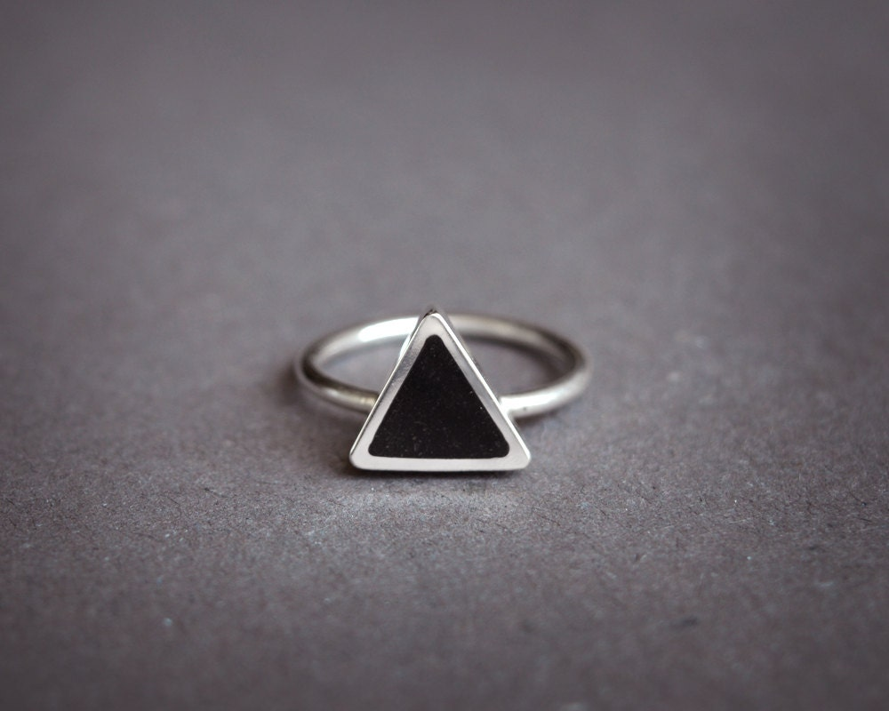 Triangle Silver Ring Geometric Ring Simple Silver Ring