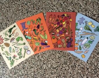 Seasonal Japanese Vegetables & Fruits Note Card Set