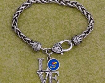 "Kansas Jayhawks ""LOVE"" Clasp Bracelet"