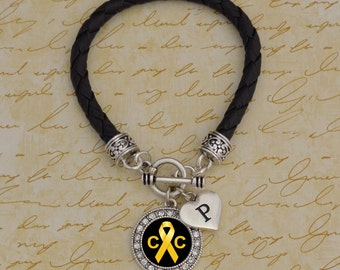 Custom Initial Childhood Cancer Leather Bracelet