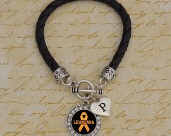 Custom Initial Leukemia Leather Bracelet