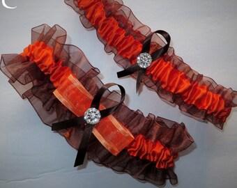 Orange and Brown Garter Set, Wedding Garter, Bridal Garter, Keepsake Garter, Toss Away Garter,  Prom Garter, Costume Garter, Garter