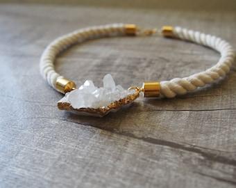 Raw Quartz Crystal Cluster Druzy Drusy Necklace Gemstone Rope Choker Statement Necklace