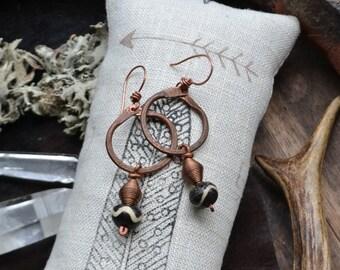 Copper earrings, recycled copper earrings, tribal earrings, handmade earrings, primitive earrings, Unicorn Vibration, hoop earrings, boho