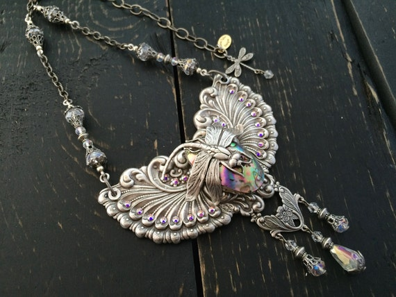 Dragonfly Statement Necklace Art Nouveau Necklace Abalone