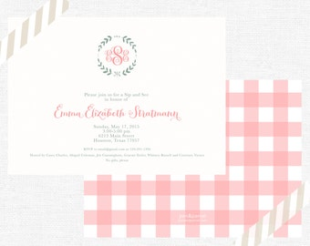 Monogramed branch baby shower invitations-FREE SHIPPING or DIY printable