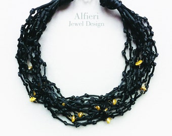 Black necklace, multistrand black silk satin necklace with golden beads, statement necklace, dressy necklace, important gift