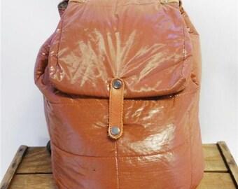 Vintage Burnt Sienna Brown Puffy Padded Vinyl Quilt Backpack Rucksack Book Bag