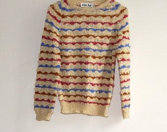 Vintage 80s Knit Lemon Striped Scalloped Sweater Jumper Top (S)