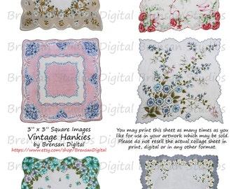"3"" Vintage Hankies - Sheet 2 of 2,  3inch Squares, 6 images, Instant Download Digital Collage Sheet of Vintage Handkerchiefs"