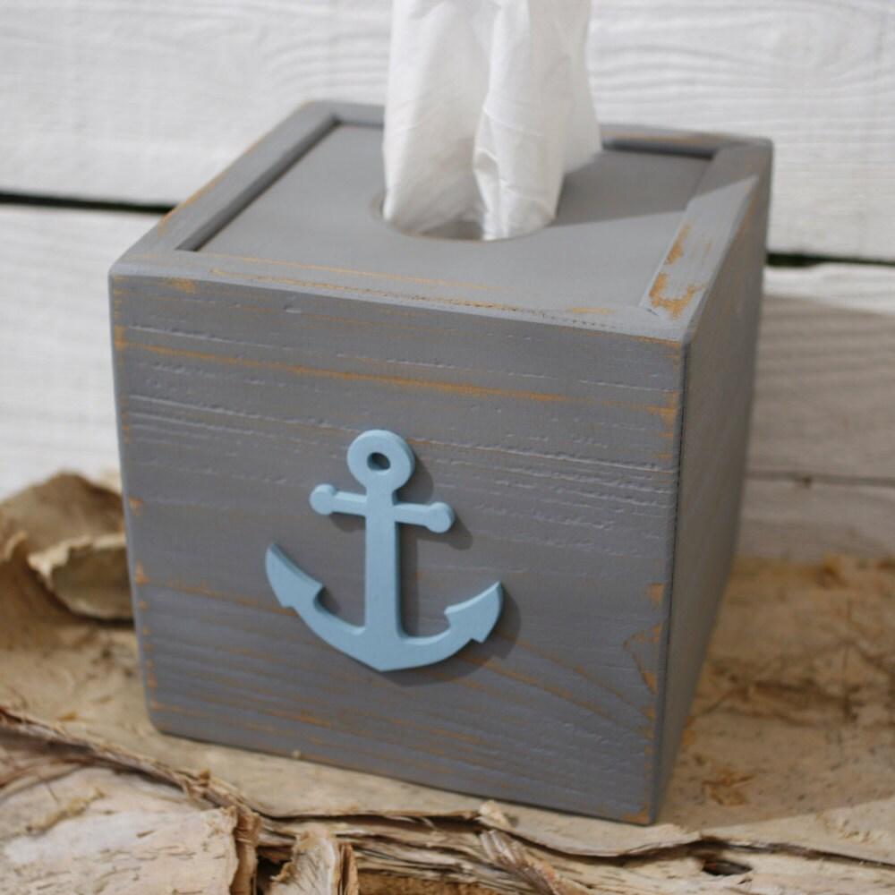 Tissue kleenex box cube gray cover aqua anchor nautical - Beach themed tissue box cover ...