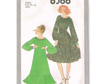 SIMPLICITY Vintage 1970's Misses' Pullover Dress Size small 10-12 bust 32.5-34 SEWING PATTERN 8388