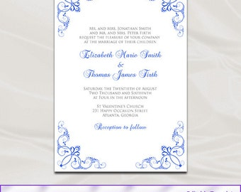 royal blue wedding invitation template diy printable blue silver bridal shower party invites editable