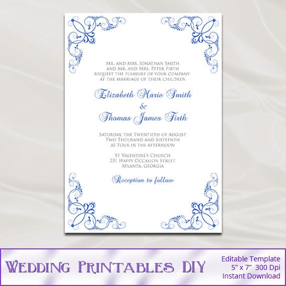 Royal blue wedding invitation template diy printable blue silver bridal shower party invites editable text instant download pdf word p150