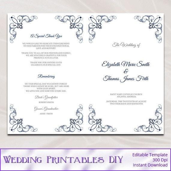 navy wedding program template diy blue silver church ceremony. Black Bedroom Furniture Sets. Home Design Ideas