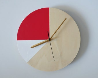 Mr. Wolf in Red & White: Wall Clock // Plywood with colourblocking