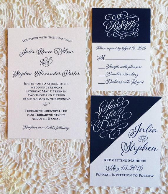 Navy Wedding Invitation Blue Wedding Invitation By CZinvitations