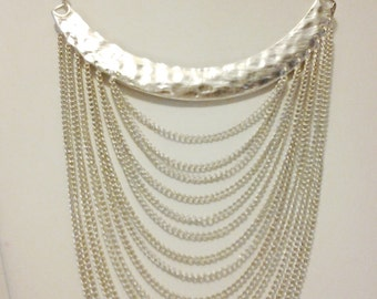 Silver Multi Strand Necklace / Silver Chain Statement Necklace / Bib Necklace.