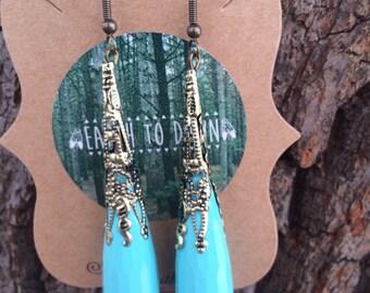 Aqua Gold Teardrop Earrings