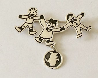 Sterling Silver Children Playing With Pet Brooch