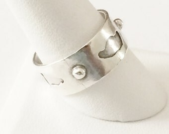 Size 10.5 Sterling Silver Wide Band Ring
