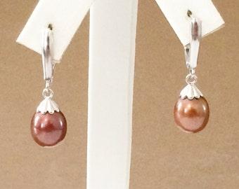 Sterling Silver Faux Chocolate Pearl Earrings