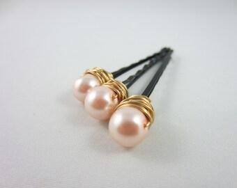 Pearl Hair Pins - Gold Pearl Hair Pins - Pink Hair Pins - Pink Pearl Hair Pins - Wedding Hair Accessories - Bridal Hair Pins