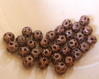 Copper Plated (Lead-Free)Round Filigree Spacer Beads 4 mm  30 beads