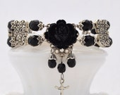 Victorian Assassin - Jet Black and Antique Silver Tone Rose Bracelet - VTA - Free US Shipping
