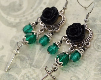 Vampiress - Silver and Emerald Green Gothic Chandelier Earrings - VAMPE - Free US Shipping