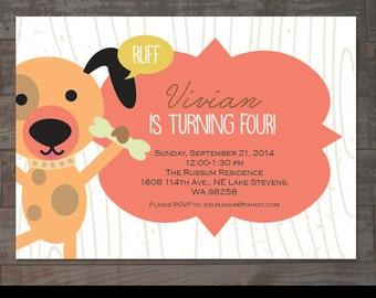 Dog Themed Childs Birthday Party Invitation Boy or Girl Puppy Birthday Party Puppy Party Invite First Birthday Dog 1st Birthday Puppy