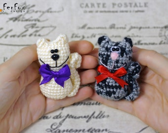 Cat Brooch, crochet pin, animal brooch, cat lover gift, children jewelry, funny brooch, animal pin