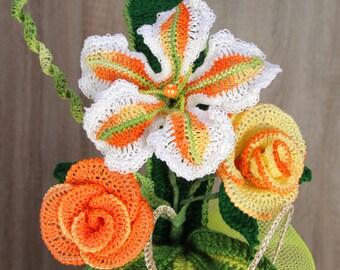 Rose con lilium,mazzo di fiori a'll unchinetto,Decorazione per la casa,