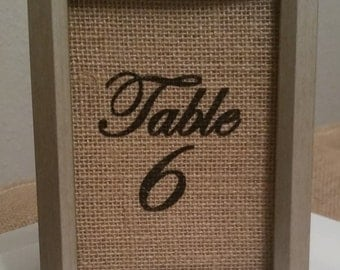 4x6 Burlap Table Numbers for weddings, events, and dinners