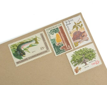 Rustic Nature Stamp Set - Vintage Postage Stamps for your party, wedding or every day mailings! Mint! Enough to mail 8 letters.