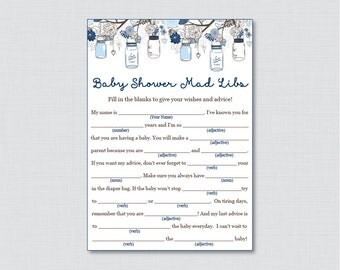 Mason Jar Baby Shower Mad Libs Printable   Baby Shower Advice Cards Mad Libs  Game