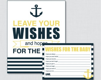 Nautical Wishes for Baby - Printable Nautical Well Wishes for Baby Cards and Sign in Navy and Yellow Anchor - Instant Download - 0029-Y