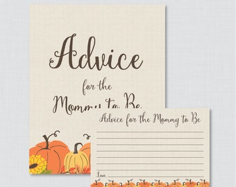 Pumpkin Advice for Mommy to Be Cards and Sign - Printable Little Pumpkin Baby Shower Advice for Mom, Advice for Parents to Be - Fall 0032
