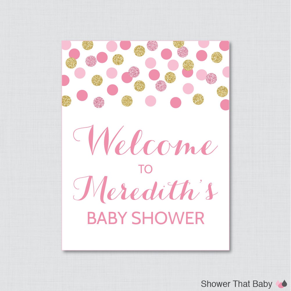 pink and gold baby shower welcome sign printable personalized