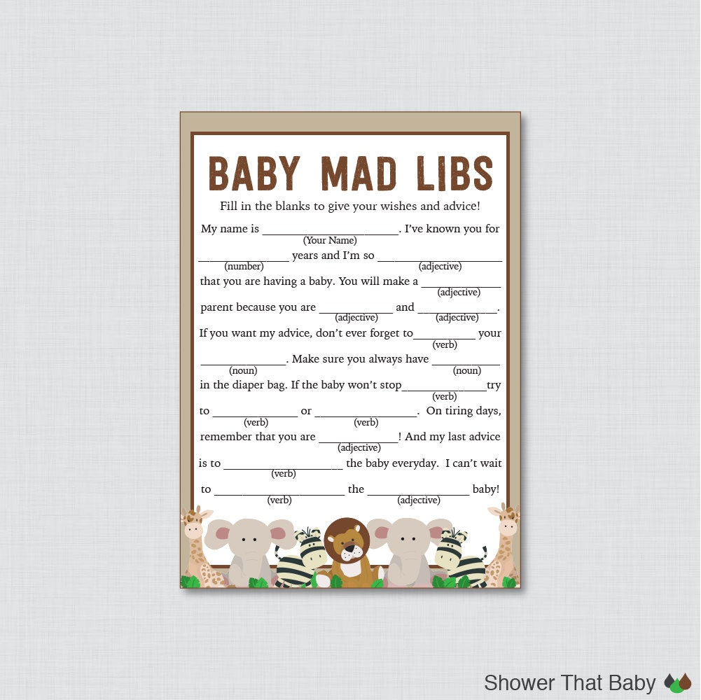 safari baby shower mad libs printable baby by showerthatbaby