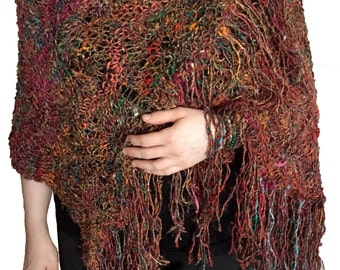 Multicolor Recycled Banana Silk Hand Knitted Shawl