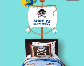 Pirate Ship Mast with Parrot & Child's Name Vinyl Wall Decal  - Boy's Bedroom Wall Decal