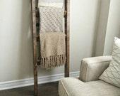 Rustic wood blanket ladder    rustic ladder decor    industrial chic decor