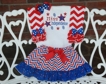 Baby Girl Miss Independence 4th of July Outfit! Girls 4th of July Outfit! Patriotic Outfit/4th of July Outfit/Red White and Blue/4th of July